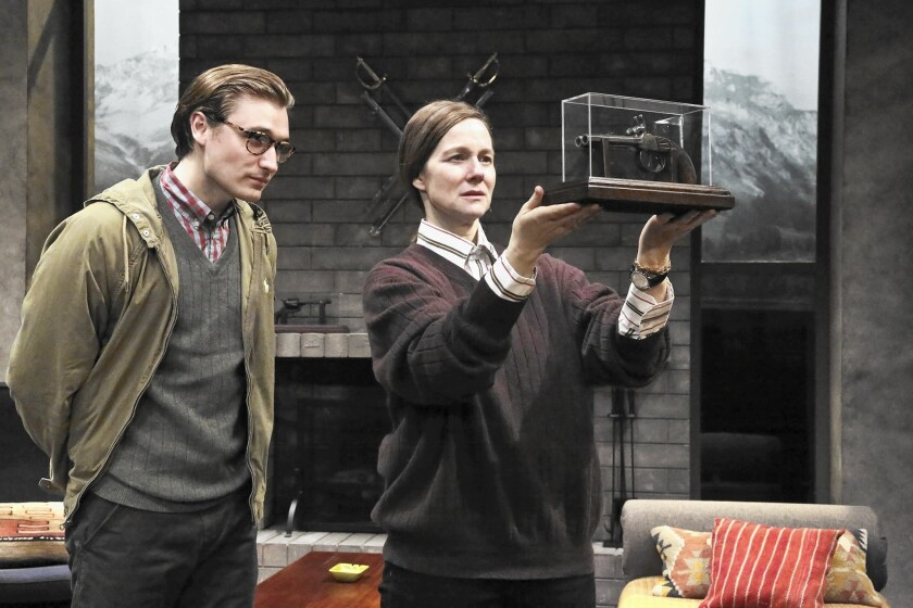 "Seth Numrich and Laura Linney in ""Switzerland."""