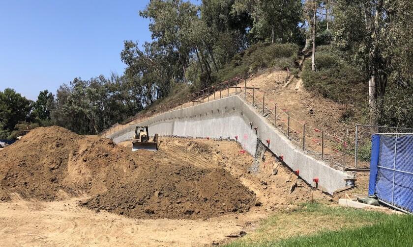 The retaining wall under construction at Solana Santa Fe School.