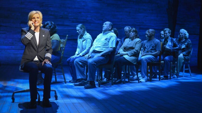 "Jenn Colella (left) and the cast of La Jolla Playhouse's world-premiere musical ""Come From Away"" which begins performances on Broadway in February."