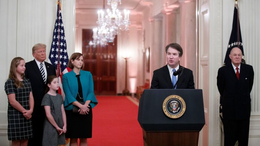 Supreme Court Associate Justice Brett Kavanaugh delivers remarks after being ceremonially sworn in by Supreme Court Associate Justice Anthony Kennedy in Washington on Oct. 8.