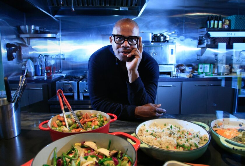 Rodney LoveJones, chef-partner and marketing director of 2Good2B gluten-free bakery/cafe in Encinitas, with some of the savory dinner items he has recently developed.