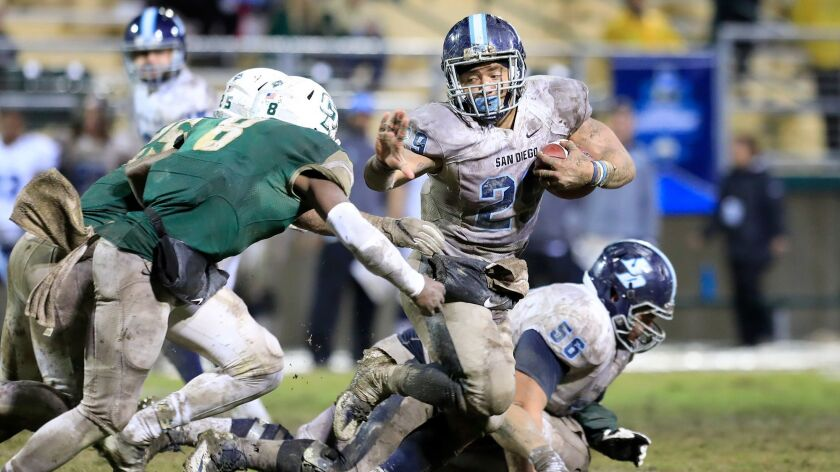 USD senior running back Jonah Hodges carried 35 times for 171 yards and three touchdowns.
