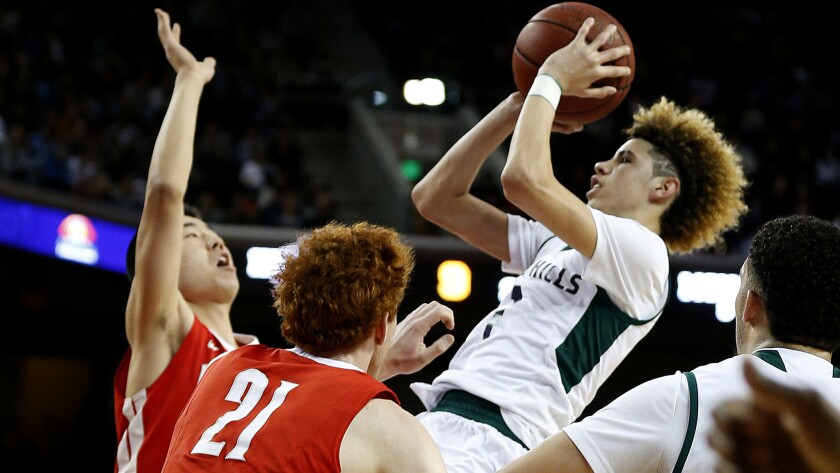 Chino Hills guard LaMelo Ball pulls up for a shot the first half of a game against Mater Dei on Feb. 24.