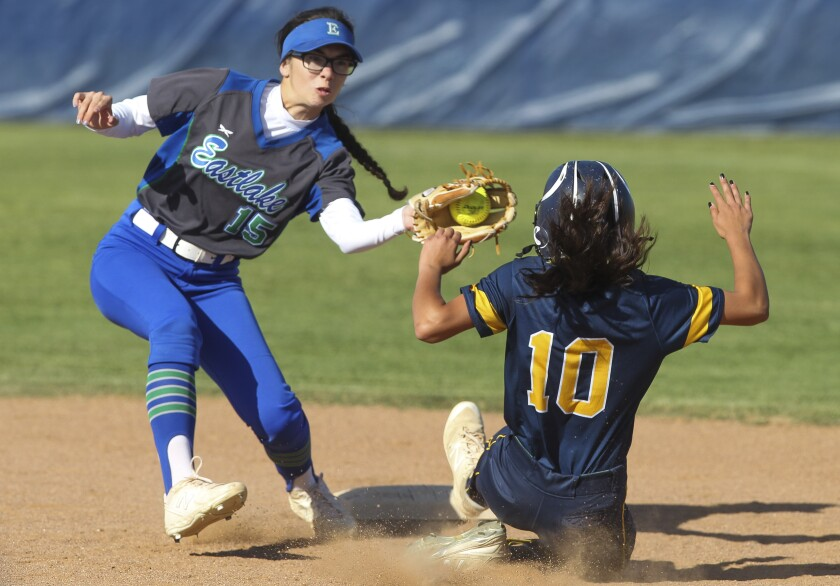 Bonita Vista's Klarissa Munoz slides into second base for a steal as Eastlake's Saige Alfaro tries to tag her out in the third inning at Bonita Vista High School in Chula Vista on Wednesday. The Barons defeated the Titans 11-1.