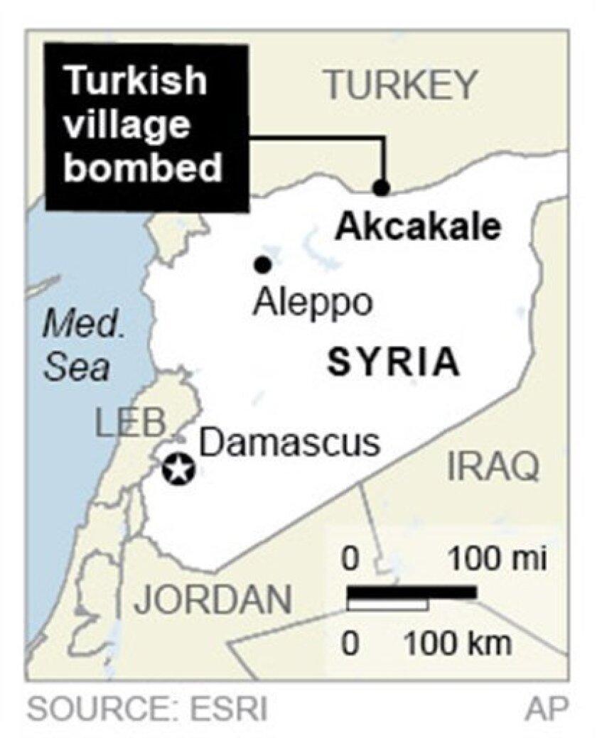 Map locates Akcakale, Turkey