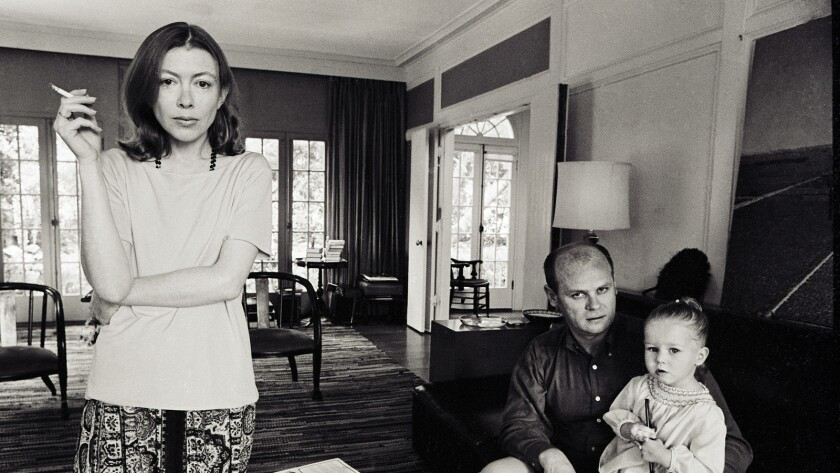 """Joan Didion, her husband, John Gregory Didion, and their daughter, Quintana Roo, from the documentary """"Joan Didion: The Center Will Not Hold."""""""