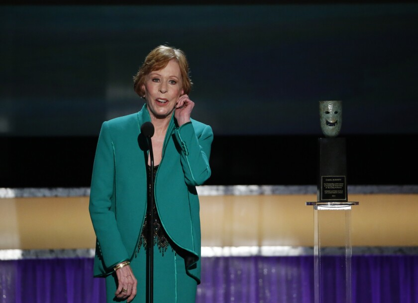 Carol Burnett received the Life Achievement Award Saturday evening at the Screen Actors Guild Awards