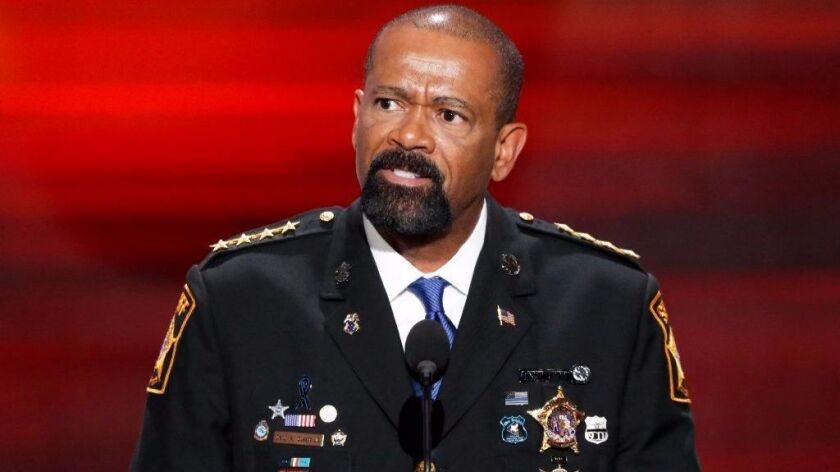 FILE - In this July 18, 2016 file photo, Milwaukee County, Wis. Sheriff David Clarke speaks at the R