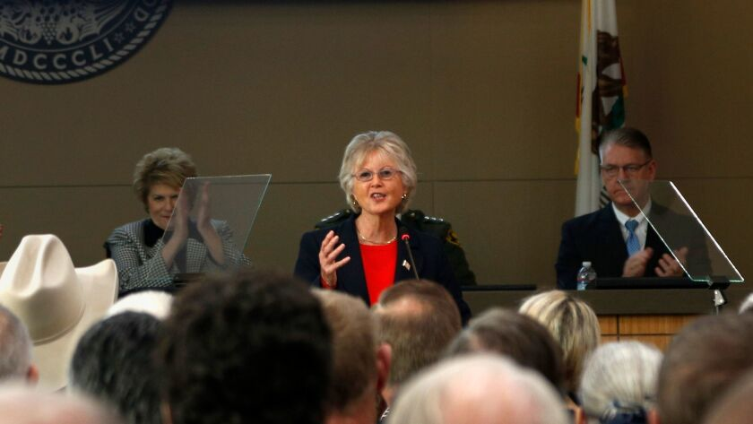 San Diego County Supervisor Dianne Jacob gave the State of the County address at the County Operations Center and warned of a $100 million budget crunch.