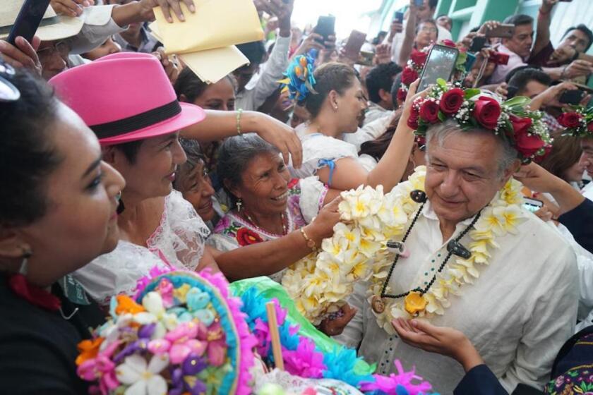 El presidente de México en su visita a Bochil, Chiapas.