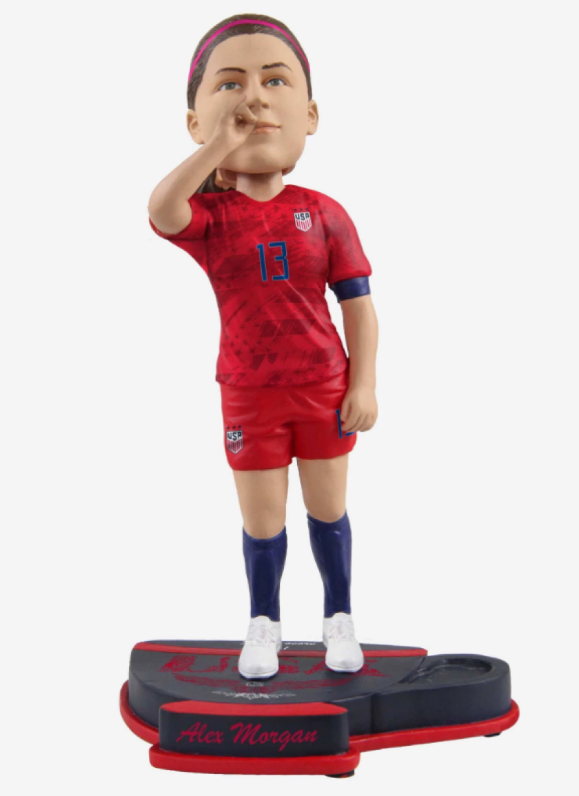 Alex Morgan sipping tea bobblehead