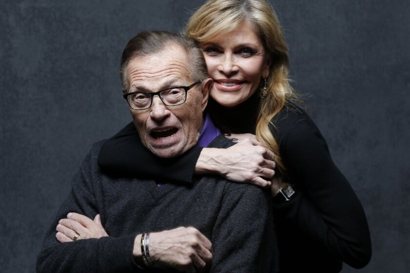 Larry King with wife Shawn King at Sundance, where the interviewer was in Park City filming his show for ORA TV.