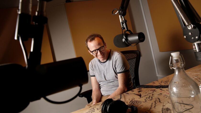 Chris Gethard in the studio where he records his podcast.