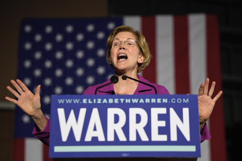 Democratic presidential candidate Sen. Elizabeth Warren, D-Mass., speaks to supporters, Monday, March 2, 2020, in the Monterey Park section of Los Angeles. (AP Photo/Mark J. Terrill)