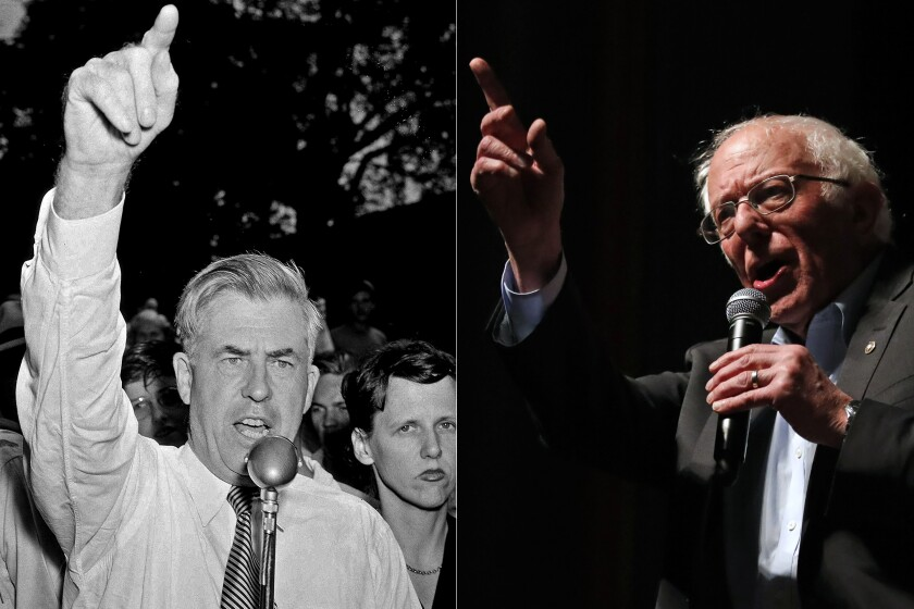 Henry A. Wallace, left, snubbed by the Democrats in 1944, became the Progressive Party's presidential candidate in 1948. Democratic presidential candidate Bernie Sanders is meeting similar resistance from the party establishment.