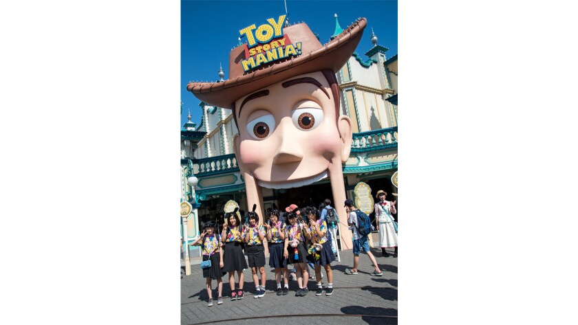 Toy Story Mania is Tokyo DisneySea's most popular attraction, with waits of two-and-a-half hours common.  Japan's osoroi code—girls dressed in identical outfits—is alive and well at the Tokyo Disney Resort.