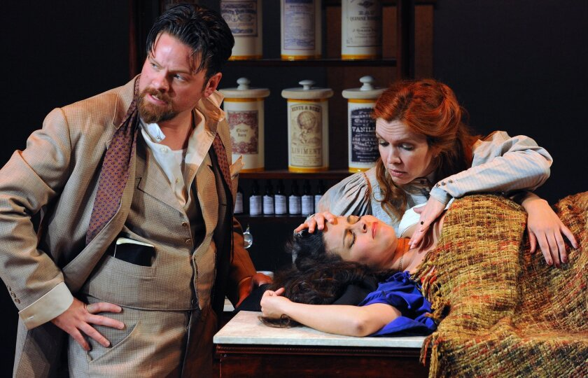 """Richard Baird, Maritxell Carrero and Eileen Faxas (left to right) in North Coast Repertory Theatre's """"Becoming Cuba."""""""