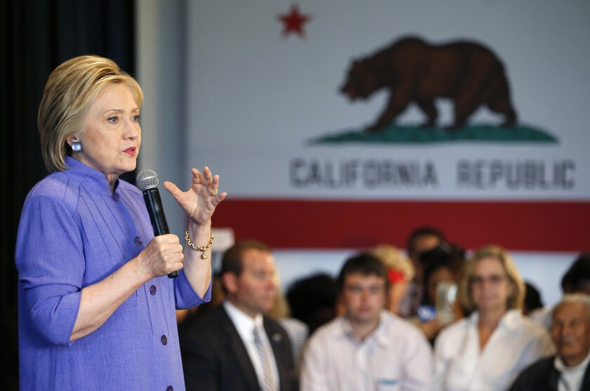 Democratic presidential candidate Hillary Clinton speaks at a rally on June 3 in Westminster, Calif.