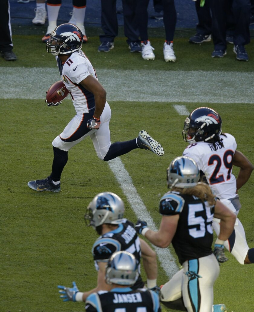 Denver Broncos' Jordan Norwood (11) returns a punt during the first half of the NFL Super Bowl 50 football game against the Carolina Panthers Sunday, Feb. 7, 2016, in Santa Clara, Calif. (AP Photo/Charlie Riedel)