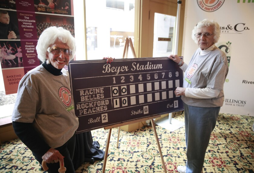 """Maybelle Blair, who played in 1948 for the Peoria Redwings, and Shirley Burkovich (right), who played in 1951 for the Rockford Peaches, at the Coronado Performing Arts Center for the """"Diamonds, Denim and Stars"""" event in Rockford on May 30, 2018."""