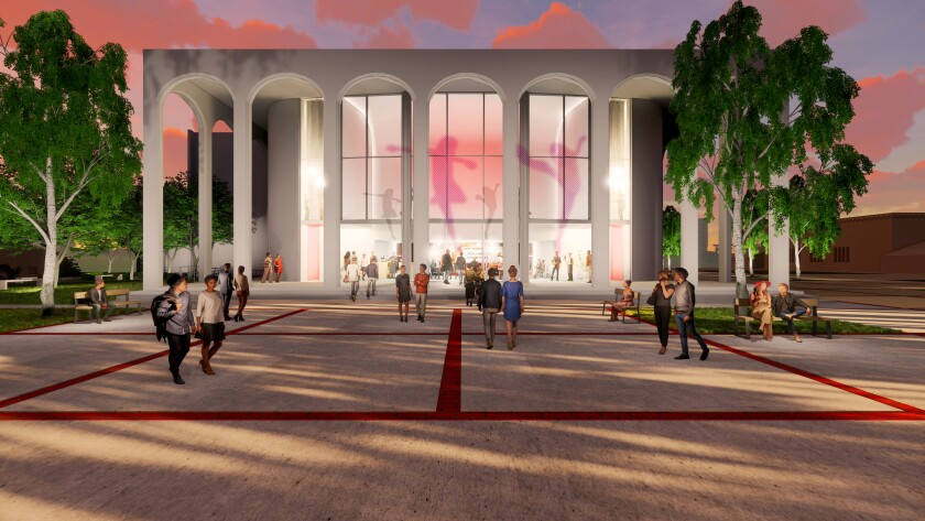 An artist's conception of the renovated theater building in the pending Performing Arts District at San Diego State University.