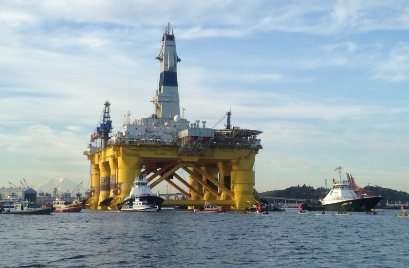 AShell Oil Polar Pioneer rig platform as it moved from Elliott Bay in Seattle, Washington.