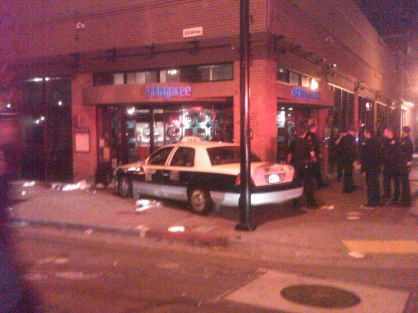 The taxi outside Stingaree nightclub.