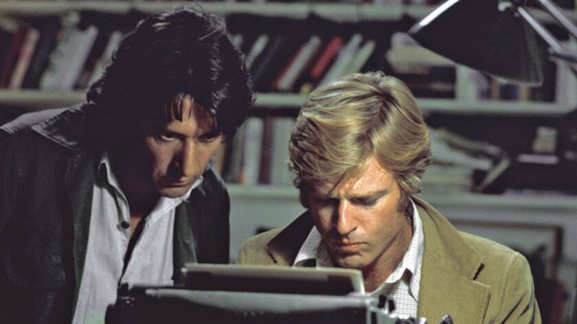 """Robert Redford, right, and Dustin Hoffman appear in their roles as reporters Bob Woodward and Carl Bernstein, respectively, in the 1976 film """"All the President's Men."""""""