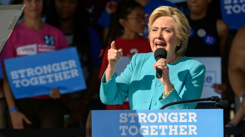 Democratic presidential nominee Hillary Clinton speaks to supporters at a rally in Tampa, Fla.