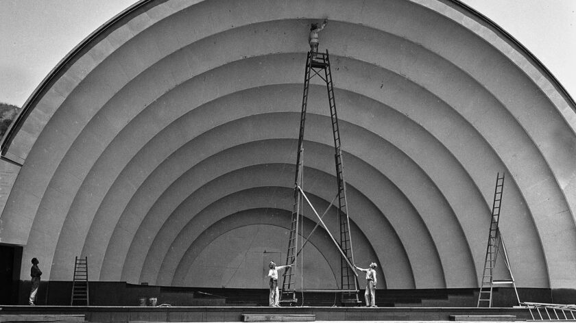 July 5, 1935: The Hollywood Bowl shell gets a new coat of paint for the first time in three years.