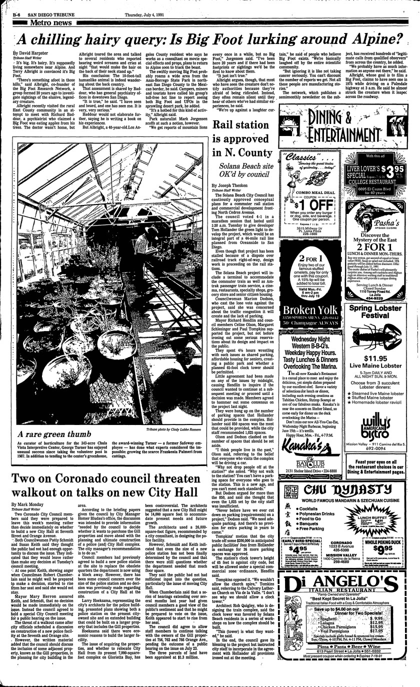 Tribune, July 4, 1991 newpaper page