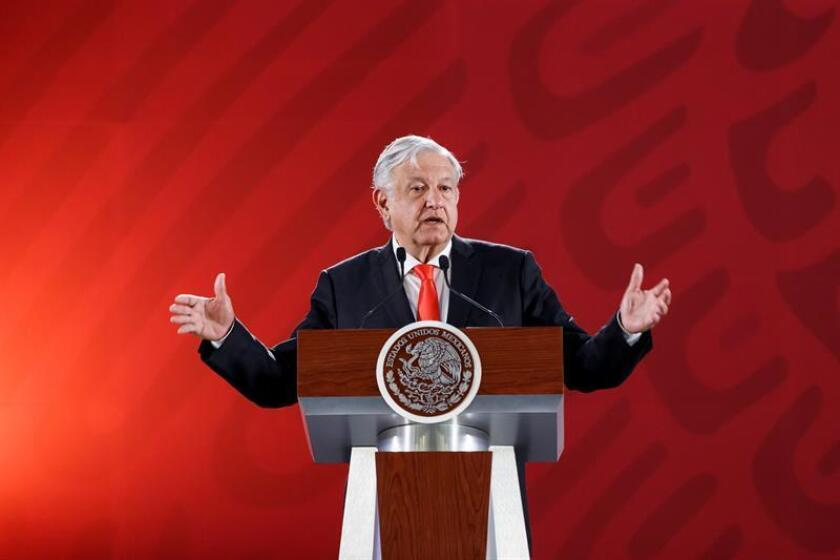 Mexican President Andres Manuel Lopez Obrador holds his regular morning press conference on March 7, 2019, at the National Palace in Mexico City, at which he gave a positive evaluation of his first 100 days in office. EFE-EPA/Jose Mendez