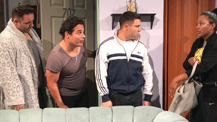 """From left: Paul Tully, Daniel V. Graulau, Jeremy Luke and Gisla Stringer in Theatre 68's """"The Mother... With the Hat."""""""