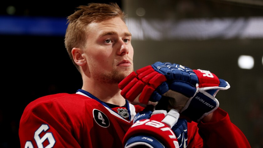 Montreal Canadiens left wing Jiri Sekac looks on during the NHL All-Star Skills Competition in Columbus, Ohio, on Jan. 24. Sekac was acquired by the Ducks on Tuesday.