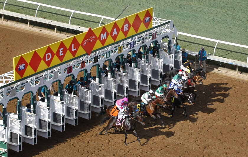 Horses start the first race of the day at the Del Mar Thoroughbred Club on Thursday, Nov. 15, 2018.