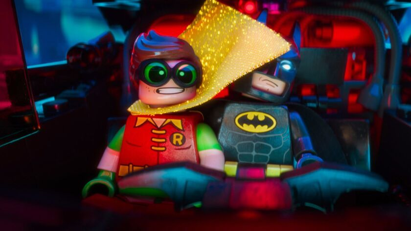 """Lego minifigures Robin (voiced by MICHAEL CERA) and Batman (voiced by WILL ARNETT) in """"The Lego Batm"""