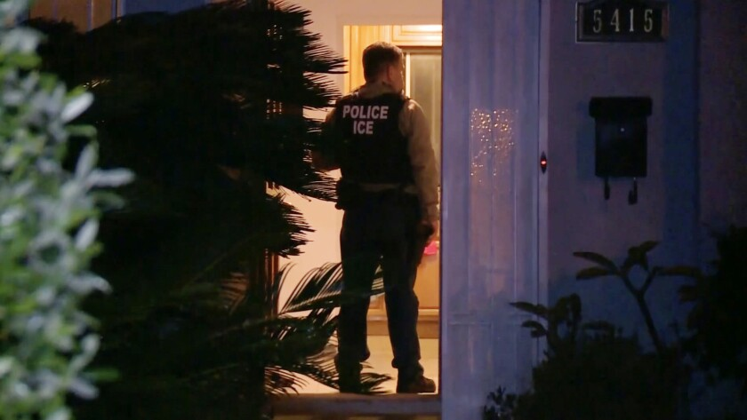 An image from an ICE operation in Los Angeles last week.