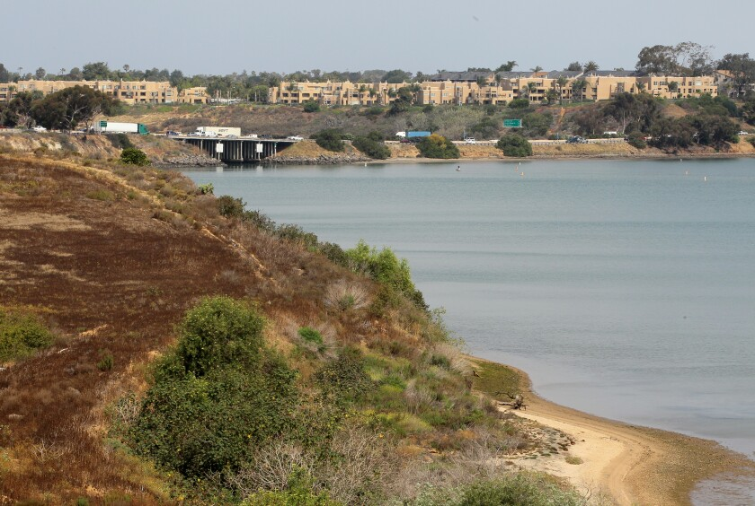 View looking northwest of the Agua Hedionda Lagoon.