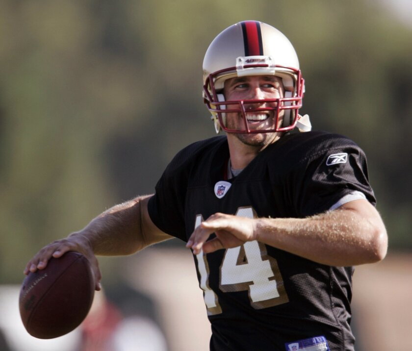 FILE - In this July 29, 2008, file photo, San Francisco 49ers quarterback J.T. O'Sullivan passes during NFL football training camp in Santa Clara, Calif. Selected in the sixth round of the 2002 draft by New Orleans, O'Sullivan ended up being a member of 10 NFL teams, had two stints with the now-def