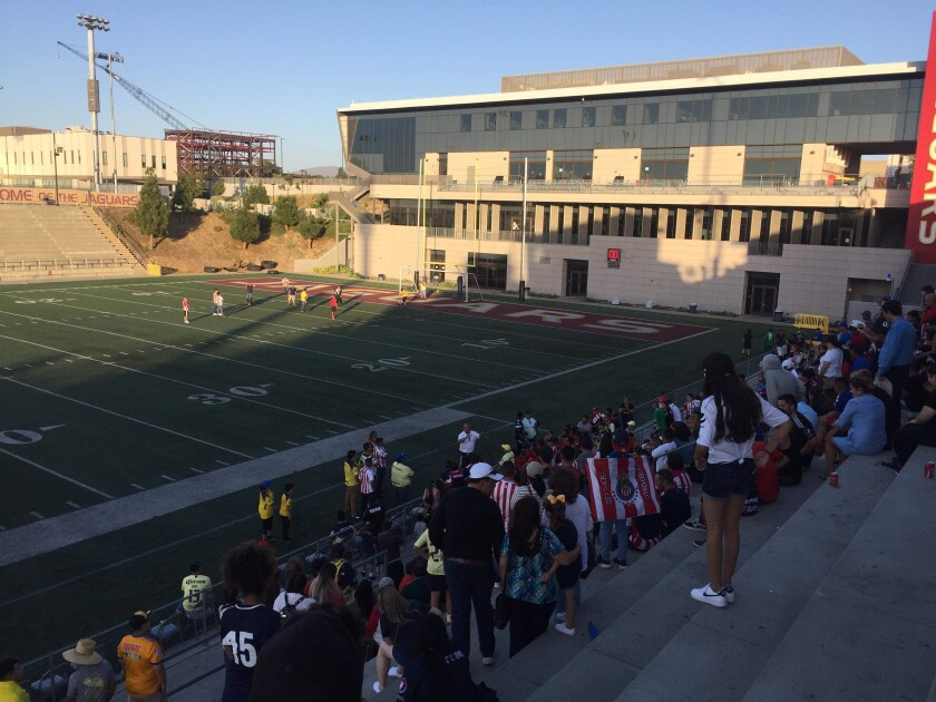 Fans waited in the stadium stands at Southwestern College for a soccer game that didn't happen on Sunday, September 8, 2019.
