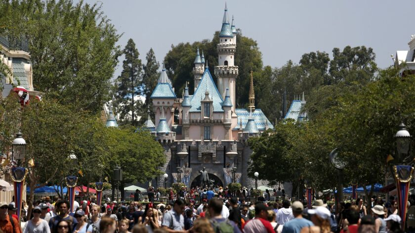 ANAHEIM, CALIF. -- FRIDAY, JUNE 30, 2017: Sleeping Beauty Castle looking down Main Street at Disneyl