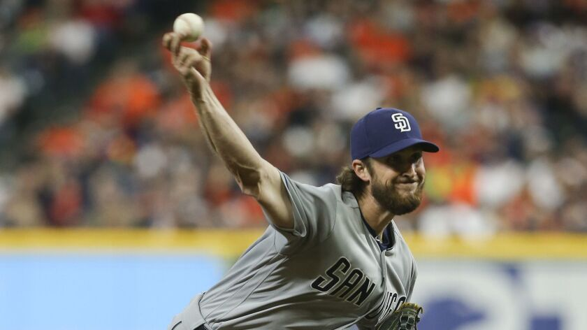 Bryan Mitchell pitches during his second start for the Padres, this one against the Houston Astros on Saturday.
