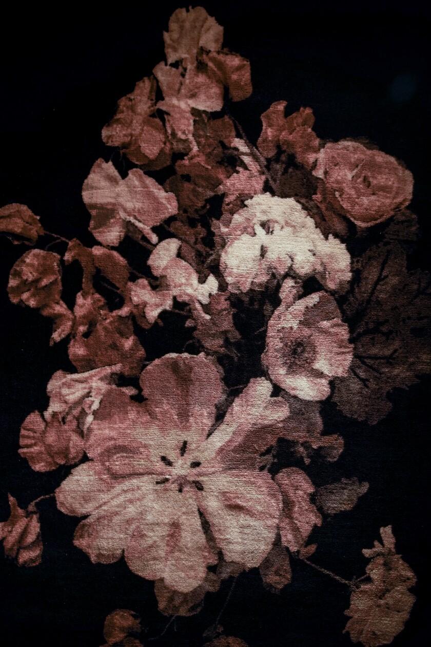 CB2's Daphne 6X9 black floral wool/nylon rug ($399)