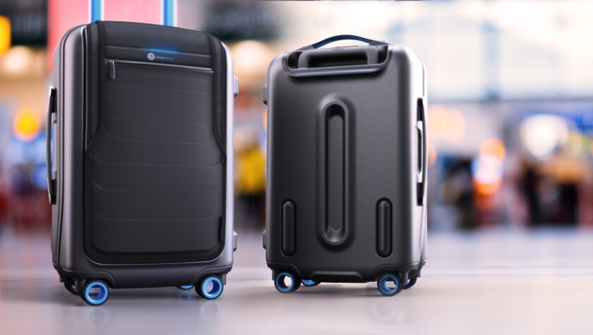 This undated image provided by Bluesmart shows Bluesmart luggage, a new high-tech brand of smart lug