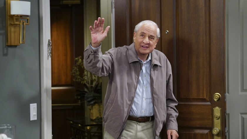 """A behind the scenes photo of """"The Odd Couple"""" with executive consultant Garry Marshall from 2015."""