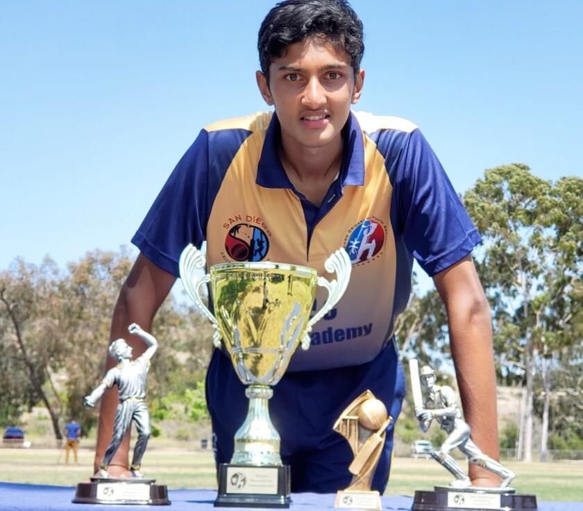 Cricket player Devam Shrivastava with some of his awards.