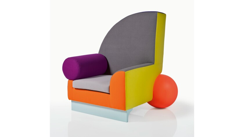 "Peter Shire's ""Bel Air"" armchair, part of a collection of David Bowie belongings up for auction."