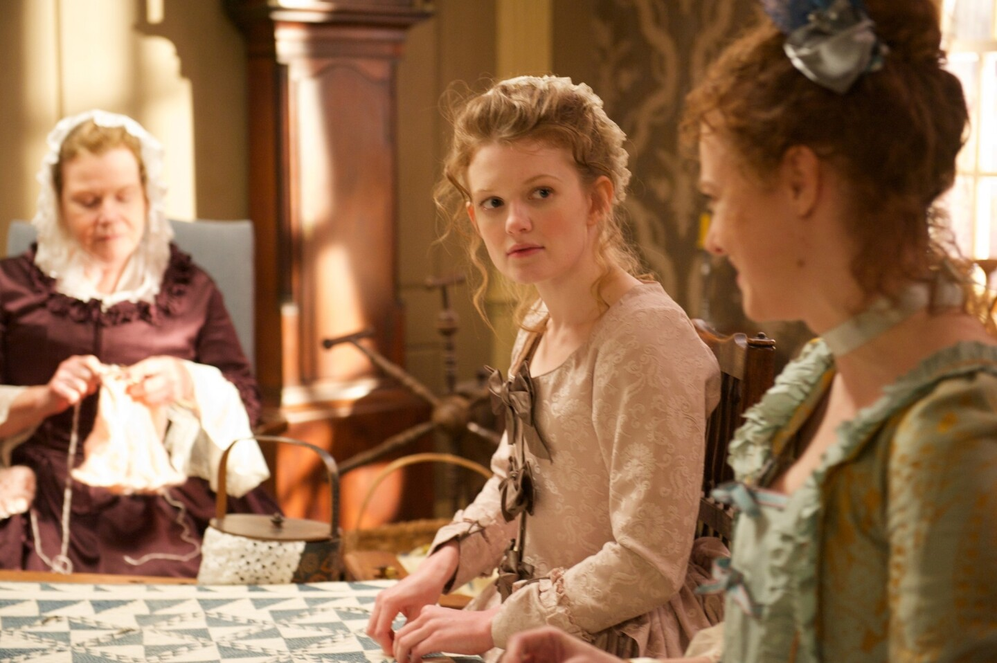 """Myra Turley as Lucy Scudder and Meegan Warner as Mary Woodhull. Premiering April 6, """"Turn"""" focuses on a conflict in American history that continues to reverberate politically but has failed to captivate the popular imagination in the same way as the Civil War or World War II. """"Turn"""" arrives at a moment of transition for AMC. After the end of """"Breaking Bad"""" and with """"Mad Men"""" entering its final season next month, the question now is whether the network can maintain its reputation for top-notch, culture-shifting drama."""