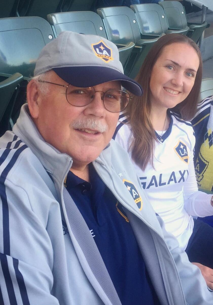 Galaxy season-ticket holders Cary and Sarah Hall attend a Galaxy game at Dignity Health Sports Park in an undated photo.