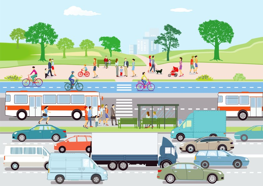 people in cars, buses, walking, on bikes - various modes of transportation